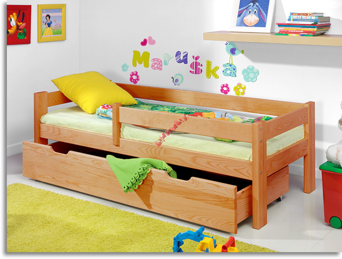 kinderbett mit gel nder erle. Black Bedroom Furniture Sets. Home Design Ideas