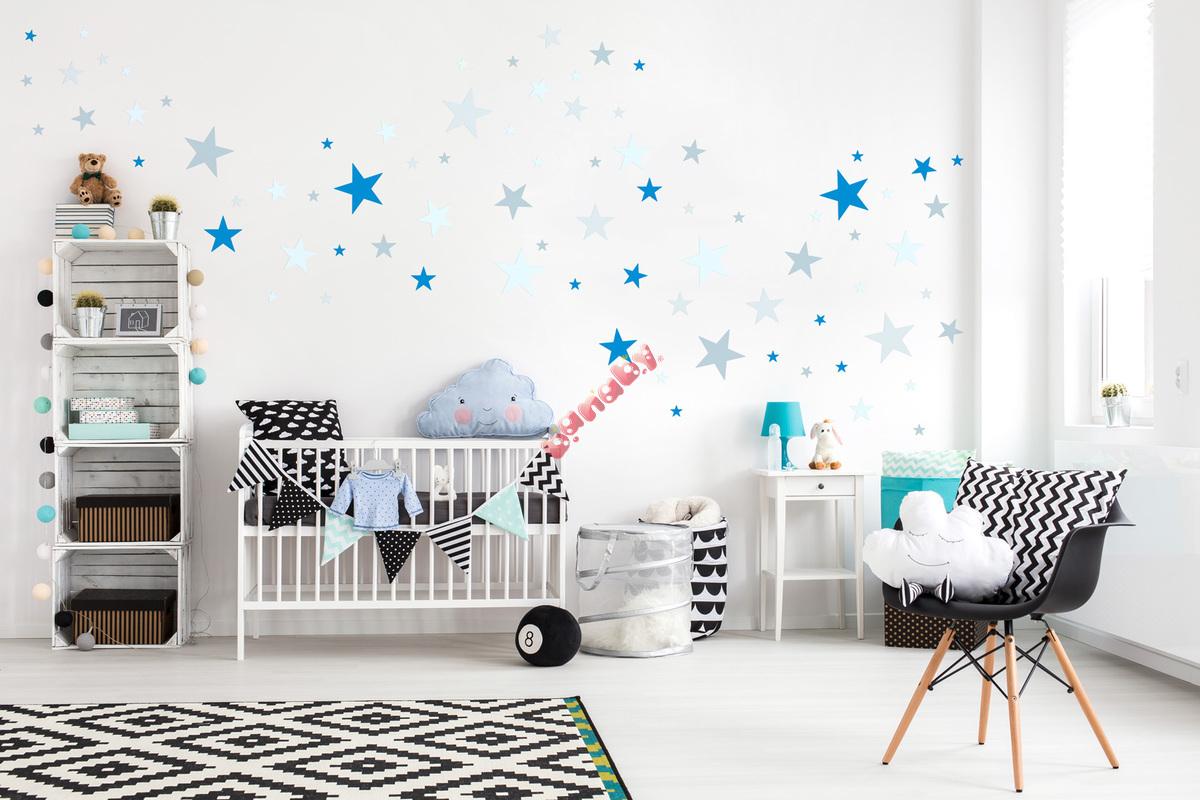 Banaby.de » Kinderaufkleber / Wandaufkleber / Dekoration Wand   Sterne Grau/ Blau