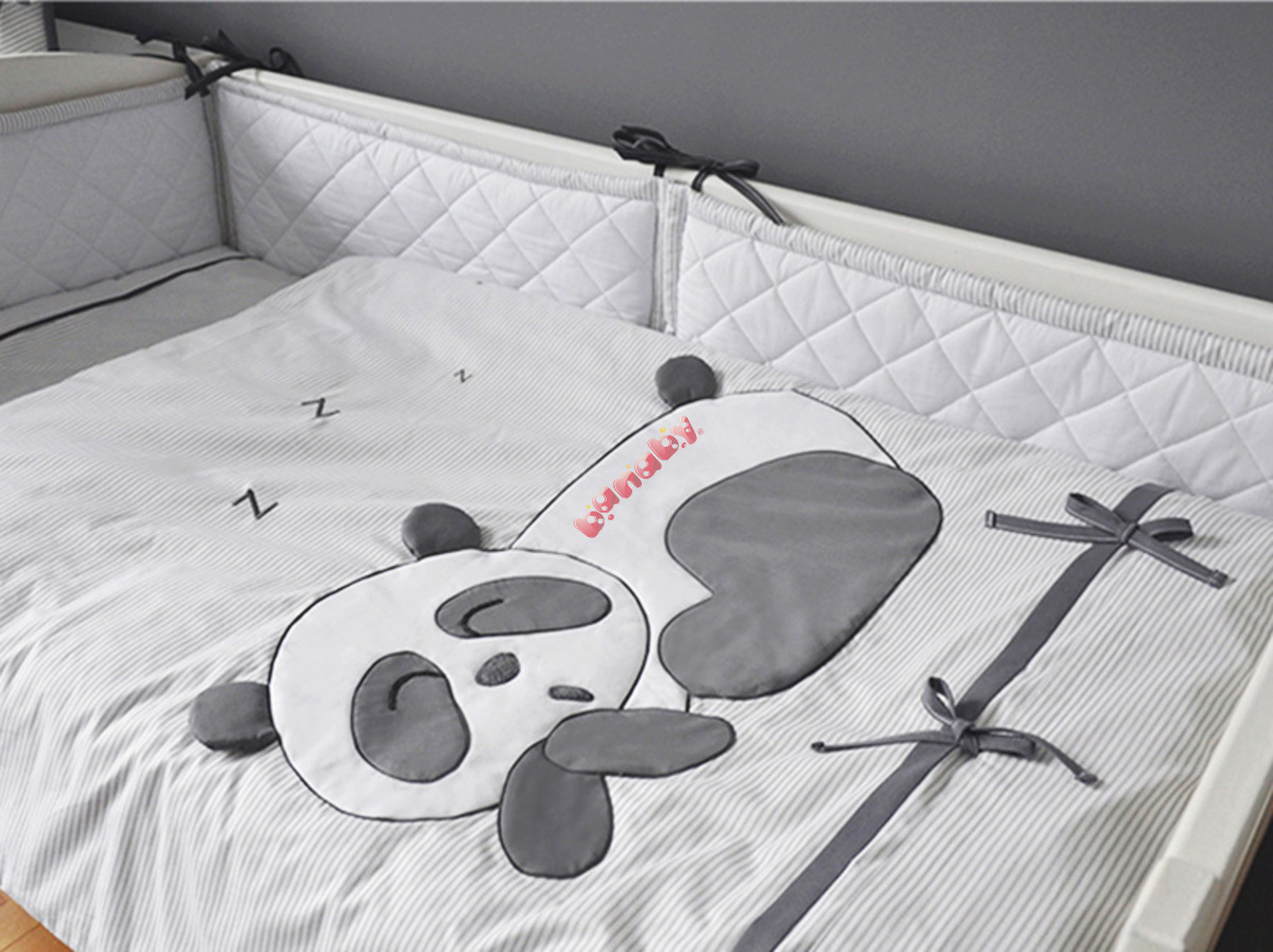 Baby Bettwäsche Panda 3 Teilig Grau Banabyde