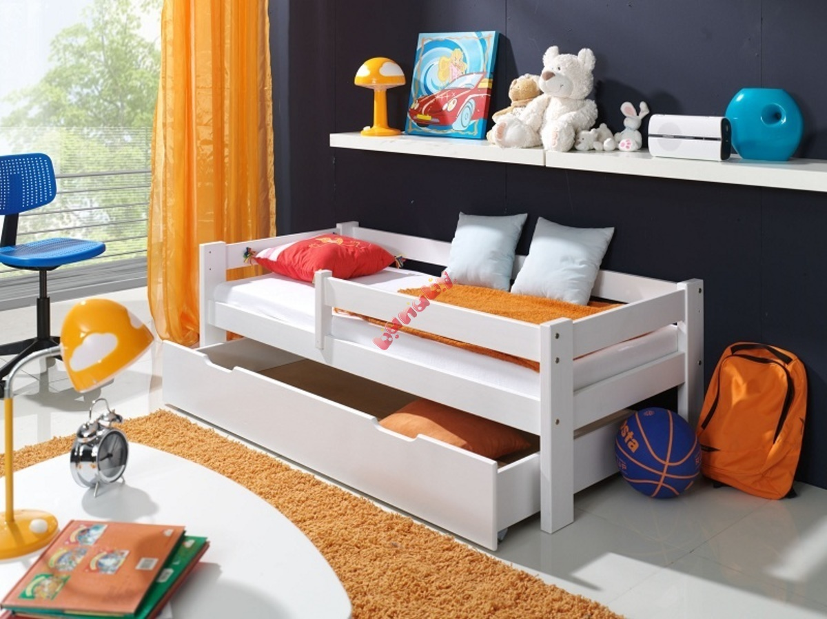kinderbett mit seitenschutz wei. Black Bedroom Furniture Sets. Home Design Ideas