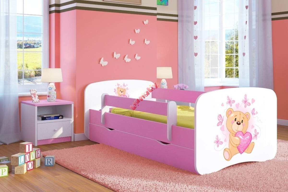 kinderbett mit gel nder ourbaby b rchen pink. Black Bedroom Furniture Sets. Home Design Ideas