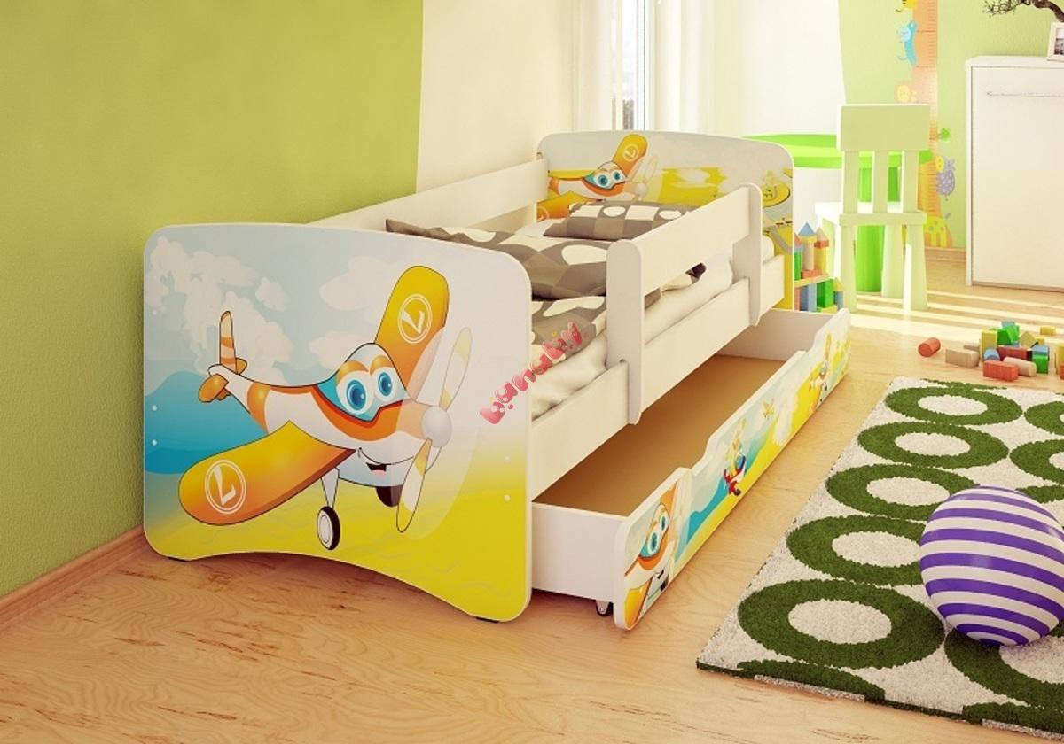 kinderbett mit seitenschutz flugzeuge. Black Bedroom Furniture Sets. Home Design Ideas
