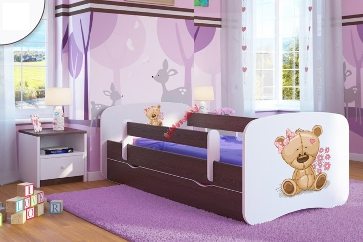 kinderbett mit seitenschutz ourbaby b rchen nussbaum. Black Bedroom Furniture Sets. Home Design Ideas