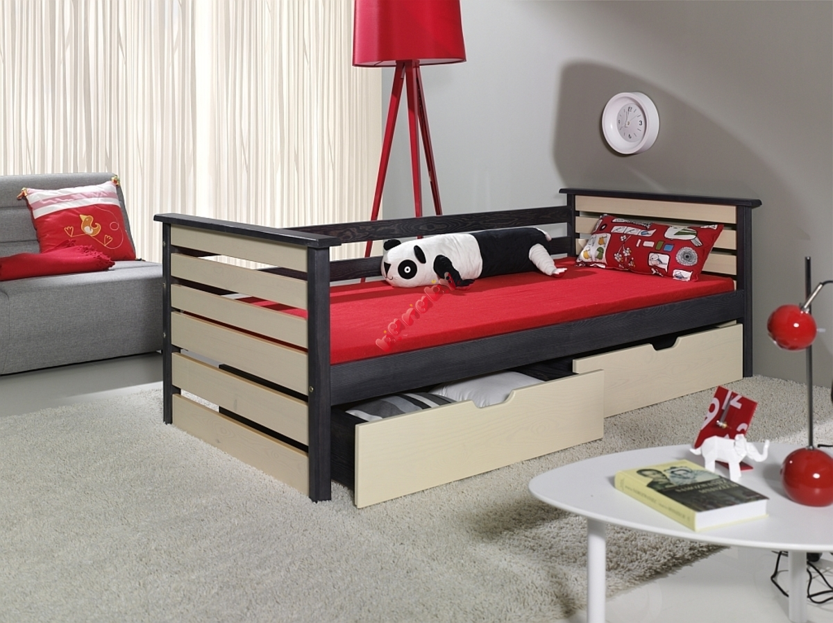kinderbett single graphit vanille. Black Bedroom Furniture Sets. Home Design Ideas