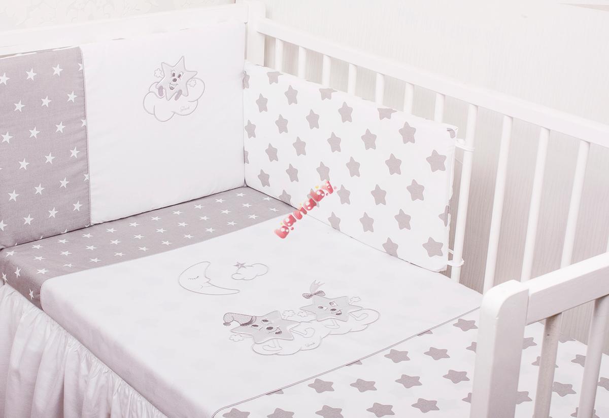 baby bettw sche set silver star. Black Bedroom Furniture Sets. Home Design Ideas