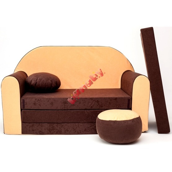 Kindersofa - braun/orange