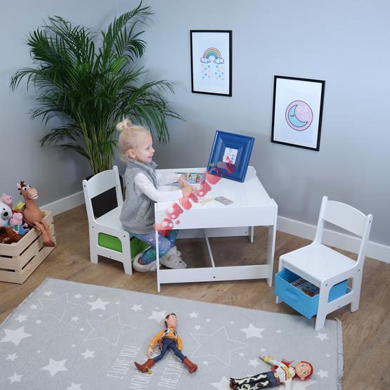 Ourbaby Kindertisch Mit Stuhlen Mit Blauer Und Gruner Box