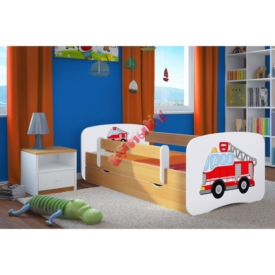 kinderbett mit gel nder ourbaby feuerwehrauto buche. Black Bedroom Furniture Sets. Home Design Ideas