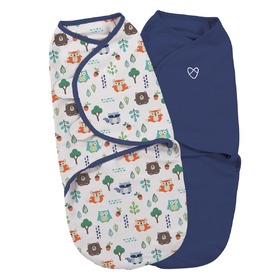 Kinder Wickeldeckchen SwaddleMe S blau / wald Motiv 2ks, Summer Infant