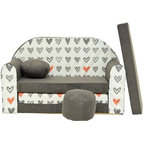 Kinder Sofa Grey hearts