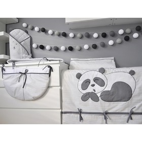 Kinder 2-teilige Bettbezug Panda - grey, Modenex