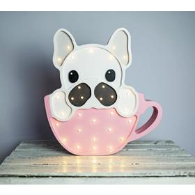 Holzleuchte LED für Kinder BULLDOGGE IN DER TASSE - rosa, Lights My Love