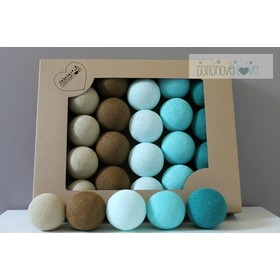 Baumwolle leuchtend LED Kügelchen Cotton Balls - türkis, cotton love