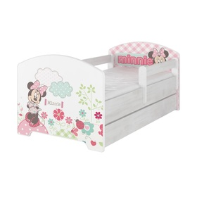 Kinder Bett mit Geländer - Minnie Mouse - dekor norwegisch Kiefer, BabyBoo, Minnie Mouse